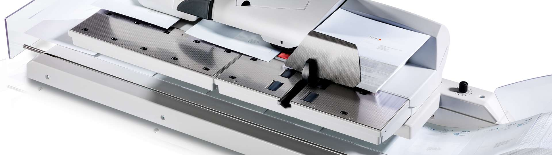 Make faster headway with your mail: Frama Matrix franking machine with Conveyor Stacker CF.